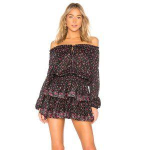 Loveshackfancy popover black floral cotton dress